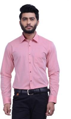 Hoffmen Men's Self Design Formal Pink Shirt