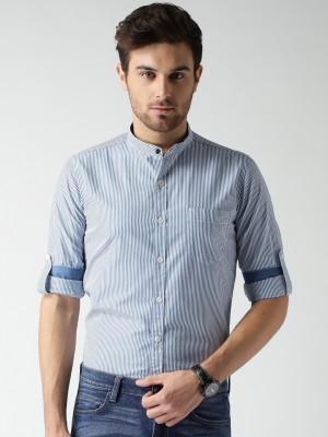 Mast & Harbour Men's Striped Casual Blue Shirt