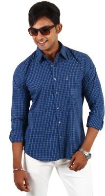 Barrier Reef Men's Checkered Casual Dark Blue, Green Shirt