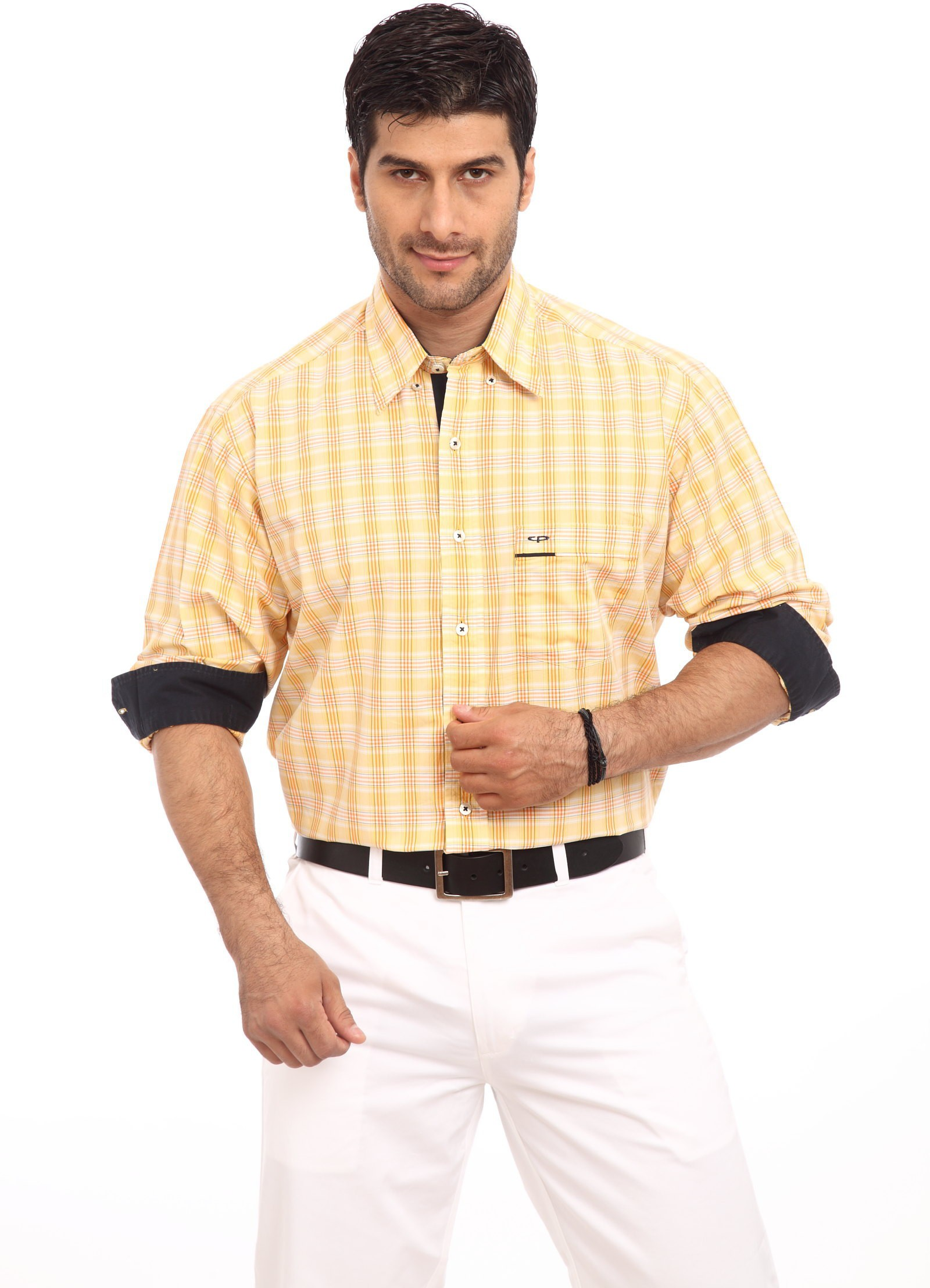 ColorPlus Mens Checkered Casual Yellow Shirt