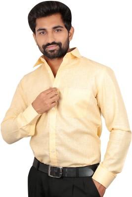Caris Men's Solid Formal Yellow Shirt