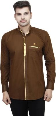 Swiss Culture Men's Solid Casual Brown Shirt