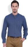 I-Voc Men's Solid Casual Blue Shirt