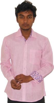 Silvercuffs Men's Solid Casual Linen Pink Shirt