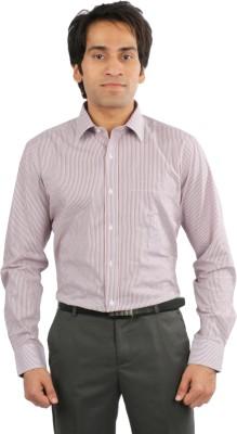 Desar Rana Men's Striped Formal Red, Blue, White Shirt