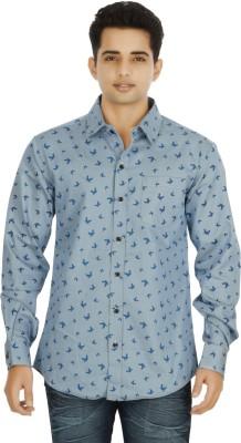 binnote Men's Printed Casual Blue Shirt