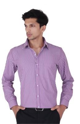 Cocablue Men's Striped Formal Purple Shirt