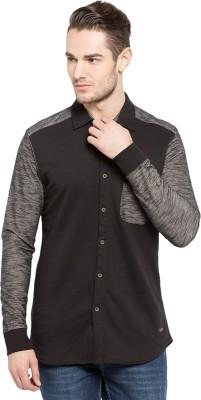 Status Quo Men,s Solid Casual Black Shirt
