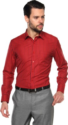 British Club Men's Striped Formal Red Shirt