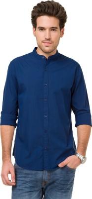 Mode Manor Men's Striped Casual Blue Shirt