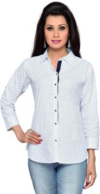 ALC Creations Women's Printed Casual White Shirt