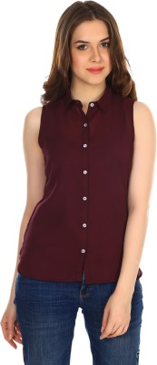 Colors Couture Women's Solid Casual Purple Shirt