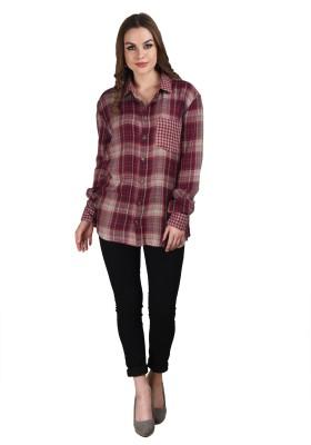 Splendent Women's Checkered Casual Red Shirt