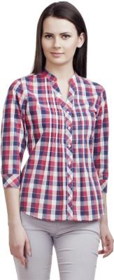 ORIANNE Women's Checkered Casual Red Shirt