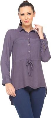 Zaivaa Women's Solid Casual Grey Shirt