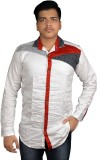 Zedx Men's Solid Formal White Shirt