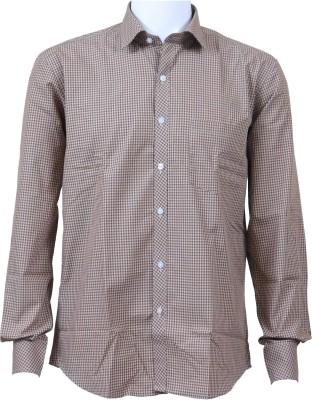 Ardeur Men's Checkered Casual Brown Shirt