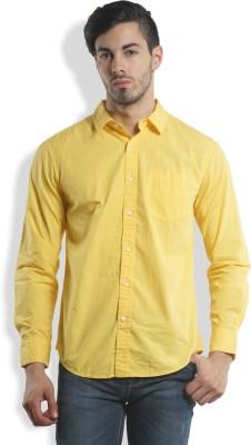 I-Voc Men,s Solid Casual Yellow Shirt