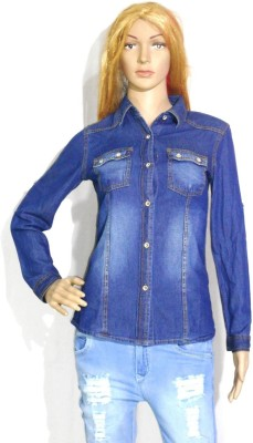 umesh fashion Women's Solid Casual Denim Dark Blue Shirt