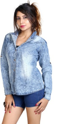 F FASHIONSTYLUS Women's Solid Casual, Party Denim Blue Shirt
