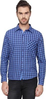 Cross Creek Men's Checkered Casual Blue Shirt