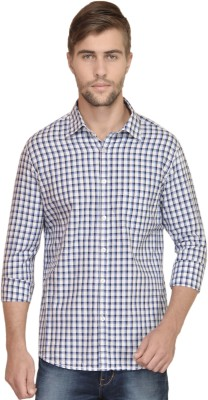 BlackRooster Men's Checkered Casual Blue Shirt