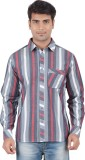 Anytime Men's Striped Casual Grey, Maroo...