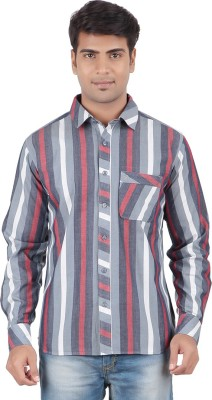 Anytime Men's Striped Casual Grey, Maroon Shirt