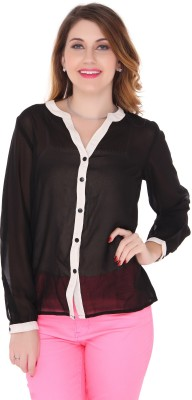 Bedazzle Women's Solid Party, Casual Reversible Black Shirt