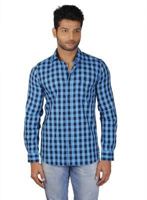 V Seven Men's Checkered Casual Light Blue, Dark Blue Shirt
