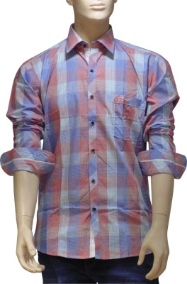 EXIN Fashion Men's Checkered Casual Blue, Red Shirt