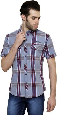 True Tittos Men's Checkered Casual Blue, Red Shirt
