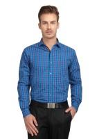 British Line Formal Shirts (Men's) - British Line Men's Checkered Formal Blue Shirt