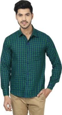 Trewfin Men's Checkered Casual Green, Blue Shirt
