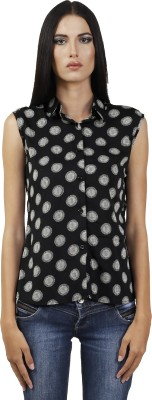 Faireno Women's Printed Casual Black, White Shirt