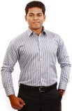 Iconic Men's Striped Formal Silver Shirt