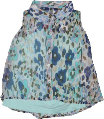 Addyvero Girl's Floral Print Casual Blue Shirt