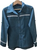 IDK Girls Solid Casual Blue Shirt