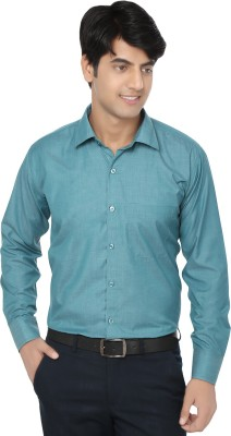Spaky Men's Solid Formal Green Shirt