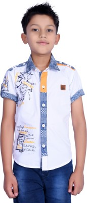 iloMilo Boy's Printed Casual White Shirt