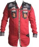 Zedx Men's Solid Casual Red Shirt