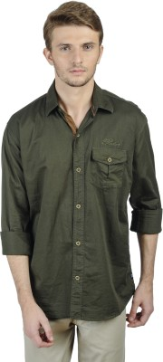 Poker Dreamz Men's Solid Casual Green Shirt