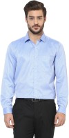London Bridge Formal Shirts (Men's) - London Bridge Men's Printed Formal Blue Shirt