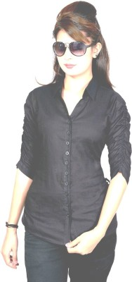 Jazzy Ben Women,s Solid Casual Black Shirt