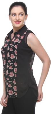Varanga Women's Printed Casual Black Shirt