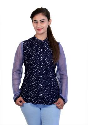 WASP Women's Printed Formal Denim Blue Shirt
