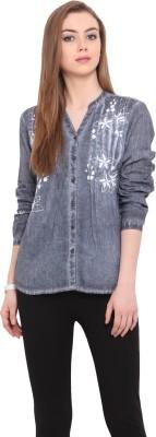 Porsorte Women's Embroidered Casual Blue Shirt
