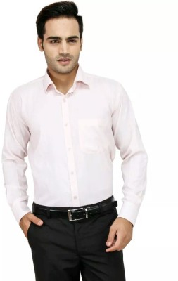 Smoky Men's Solid Formal Pink Shirt