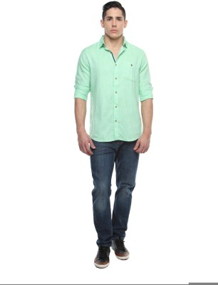 British Club Men's Solid Casual Green Shirt