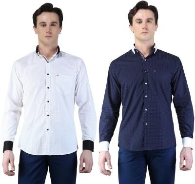 Magnoguy Men's Polka Print Casual Blue, White Shirt